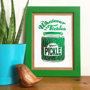 Pickle Pride Foil Mini Print From Linocut - posters & prints