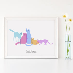 Personalised Family Of Cats Portrait - family & home