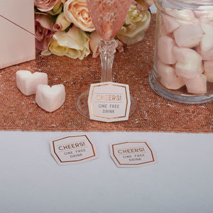 Geometric Rose Gold Party Drink Tokens