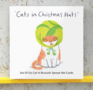 Cat In Brussels Sprout Hat Christmas Cards - cards & wrap