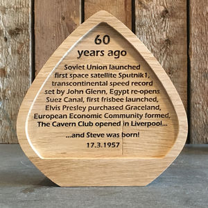 Personalised Oak 60th Birthday Anniversary Award Plaque