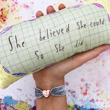 'She Believed She Could So She Did' Mini Cushion