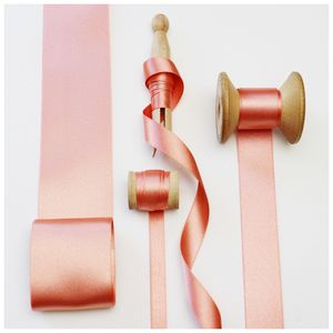 Rose Gold Satin Ribbon.20 Meter Reels - shop by category