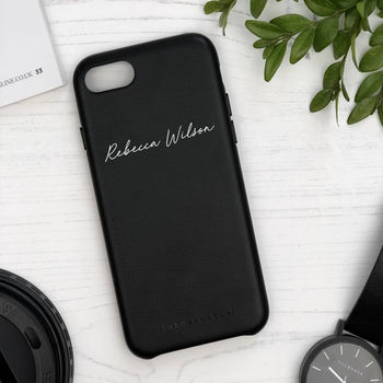 Personalised Handwriting Leather Phone Case
