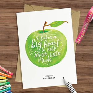 'A Big Heart' Personalised Teachers Thank You Card