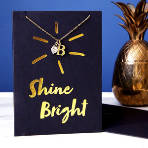 Gold Foil 'Shine Bright' Card And Necklace Set - necklaces & pendants