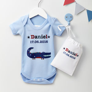 Boys Personalised Baby Grow Various Designs