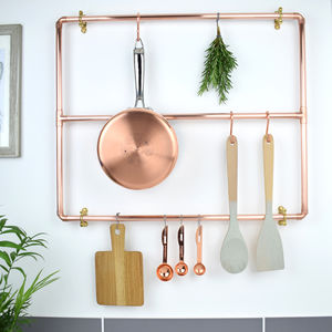 Copper Pan Rack - hooks, pegs & clips