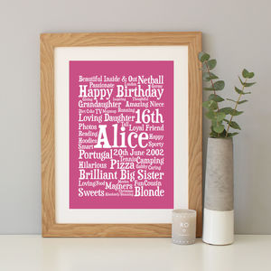 Personalised 16th Birthday Word Art Gift - dates & special occasions
