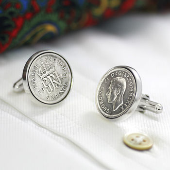 Hallmarked Silver Lucky Sixpence Cufflinks