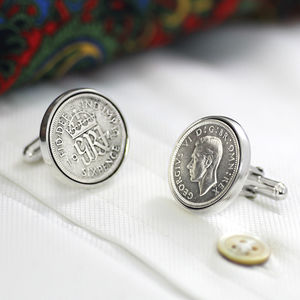 Hallmarked Silver Lucky Sixpence Cufflinks - personalised gifts for him