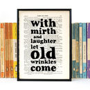 Friendship 'With Mirth And Laughter' Book Page Print