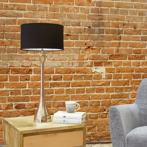 Slender Nickel Lamp And Black Lampshade - summer sale