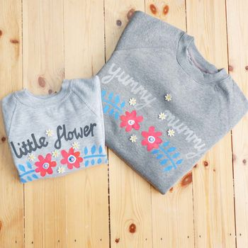 Flower Mum/Child Grey Marl Sweatshirts Set