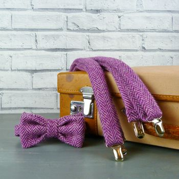 Harris Tweed Bow Tie And Braces Purple And Pink
