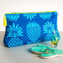 Pineapple Blue Large Wash Bag