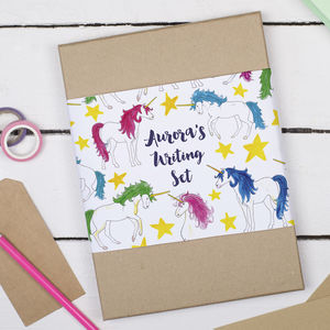 Personalised Unicorn Children's Writing Set - stationery