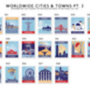 Stamp Art Destination Personalised Print 16 Stamps