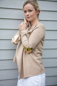 Cashmere Waterfall Cardigan, Metallic Patches