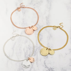 Personalised Double Disc Charm Bracelet - winter sale
