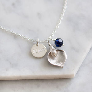 Personalised Calla Lily Necklace - 60th birthday gifts