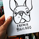 Personalised Dog Christmas Gift Sack - showing hand drawn dog breed (French bulldog)