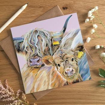 Mothers Day Card Highland Cow And Calf