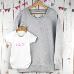 Mama And Baby Embroidered Twinning Sweatshirt Set - mother & child sets