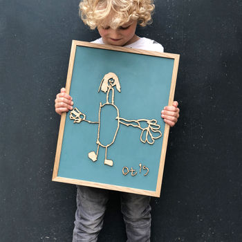 Bespoke Childs Drawing Wooden Wall Art