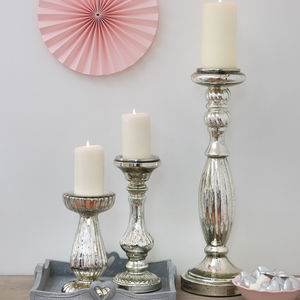 Decorative Mirrored Glass Candlestick