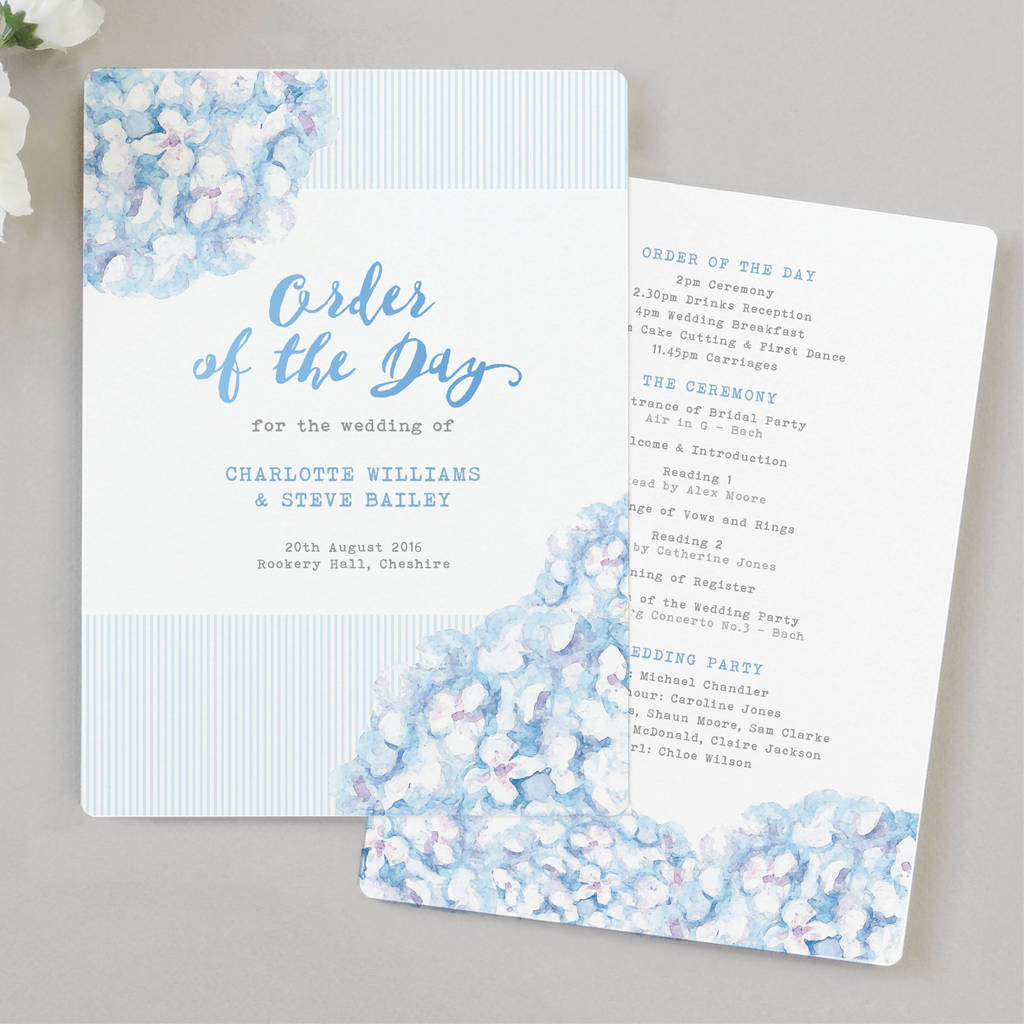 Hydrangea Blue Wedding Order Of The Day Program Cards