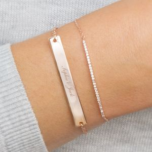 Personalised Isla Crystal And Bar Bracelet Set - bracelets & bangles