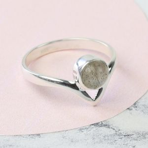 Labradorite Stone And Sterling Silver Chevron Band Ring - rings