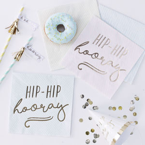 Pastel Stripe Gold Foiled Hip Hip Hooray Paper Napkins
