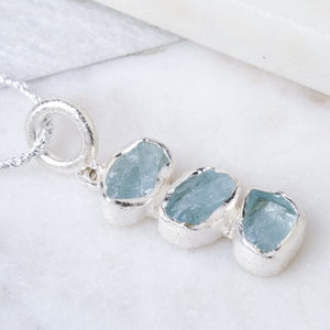 Rough Aquamarine Silver Pendant March Birthstone