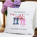 Valentine Personalised Welly Boot Cushion