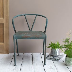 Distressed Blue Metal Chair - armchairs