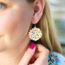 Silver Or Gold Filigree Flower Drop Earrings