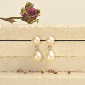 Double Pearl Drop Earrings - earrings