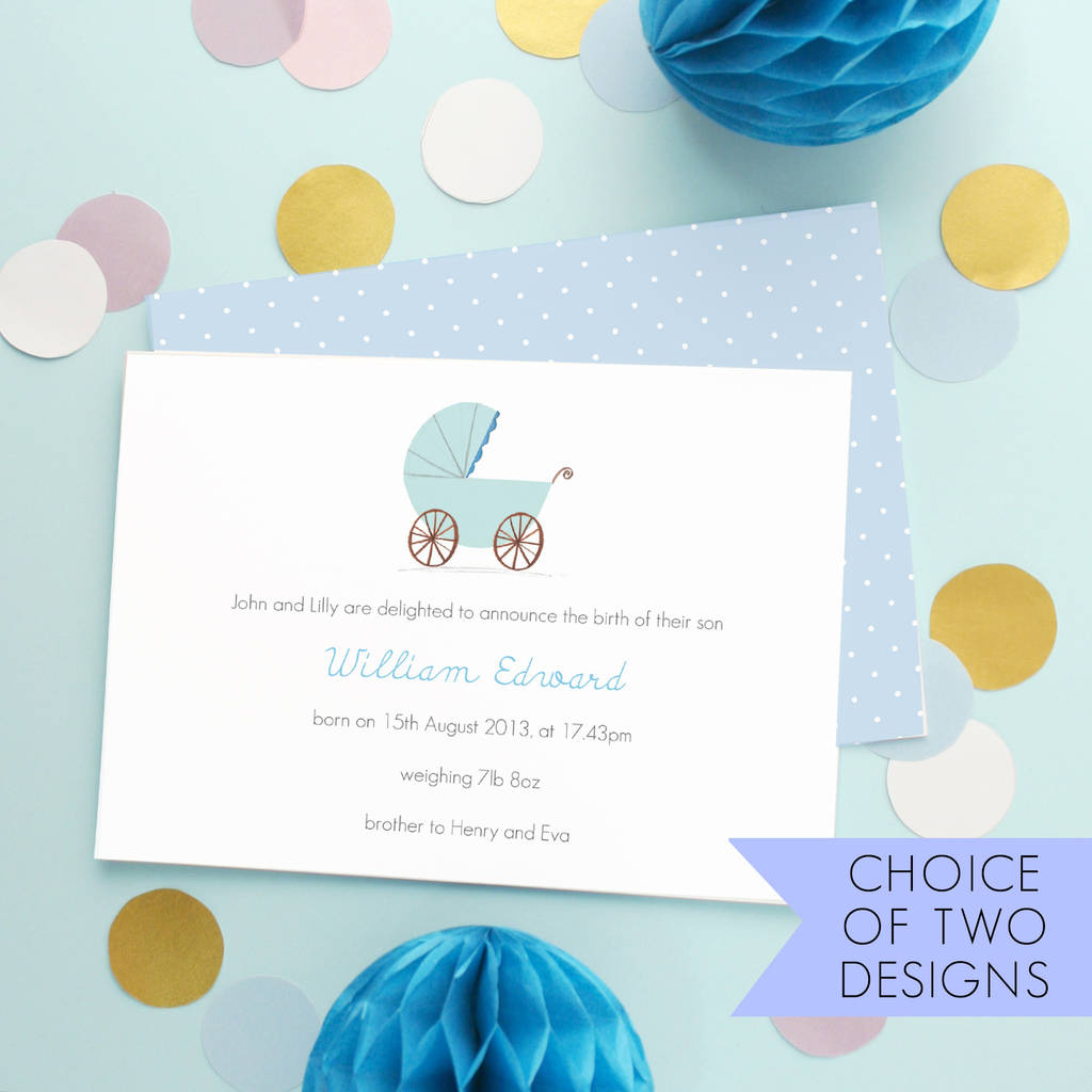 personalised new baby boy announcement cards by made by ellis