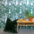 TROPICAL LEAF PRINT WALLPAPER WITH LARGE FLOOR CUSHION