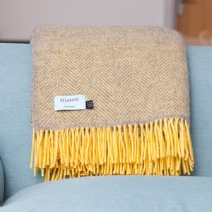 British Wool Herringbone Throw - bedding & accessories