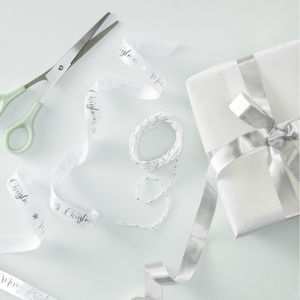 Silver Foiled Merry Christmas Ribbon Wrap Kit - winter sale