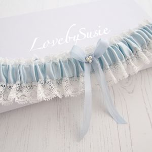 Blue Silk Wedding Garter Aurelie