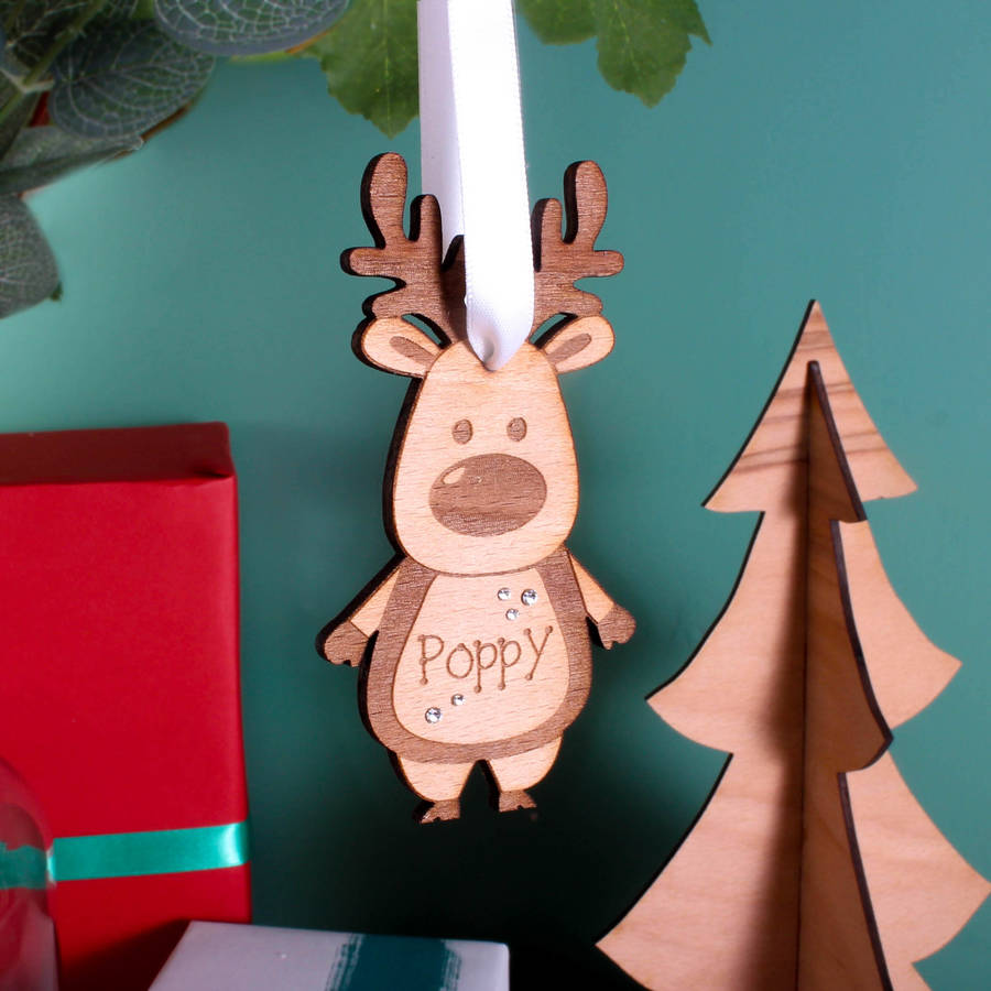 personalised wooden reindeer decoration - Wooden Deer Christmas Decorations
