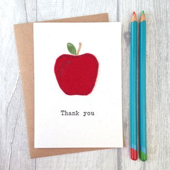 Embroidered Apple Letterpress Thank You Teacher Card