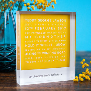 Personalised Godparent Acrylic Block - decorative accessories
