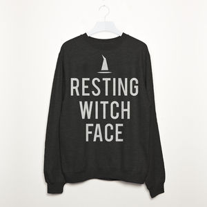 Resting Witch Face Women's Halloween Slogan Sweatshirt - adults