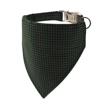 Green Houndstooth Bandana Dog Collar