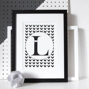 Personalised Monochrome Uppercase Letter Print - summer sale
